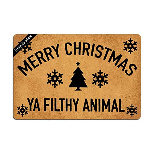 Ruiyida Merry Christmas Ya Filthy Animal Doormat Custom Home Living Decor Housewares Rugs and Mats State Indoor Gift Ideas 23.6 by 15.7 Inch Machine Washable Fabric Top (Christmas Mat Door Coir)
