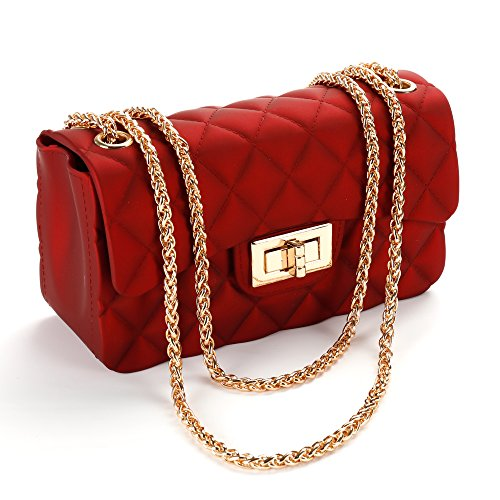 Women's Quilted PU Leather Cross-body Bag Girls Purse & Handbags Chain Small Messenger Bag (wine-red) by healthyboy