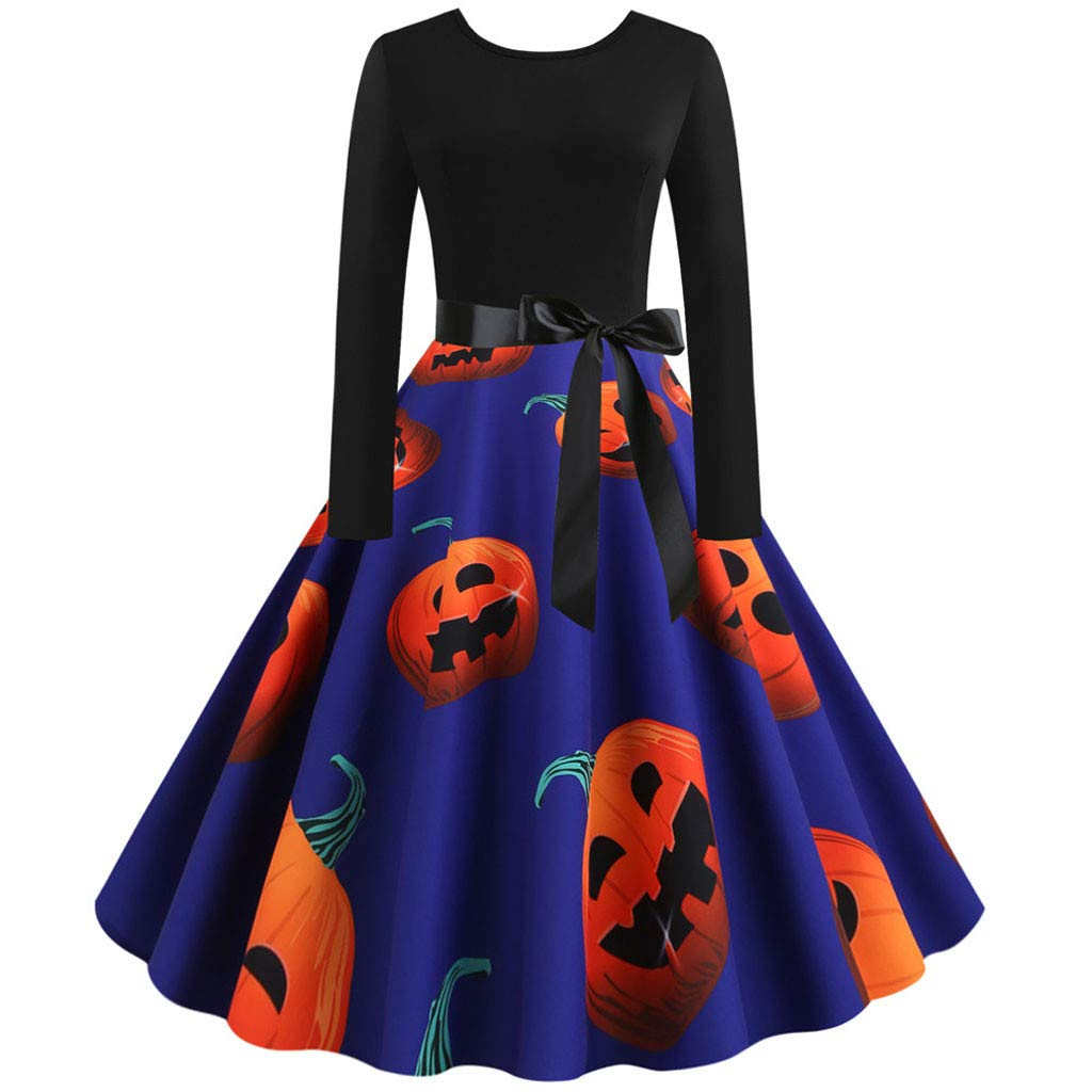 Women's Long Sleeves Halloween Vintage Costumes Pumpkin Prints Elegant Dress Casual Evening Party Prom Dresses Purple by UCQueen