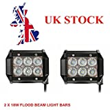 Topautolight 2pcs 4 inch 18W Cree Flood Led Work Light Bar Waterproof Driving Off-road Lamp for Car Boat Truck Jeep 4x4 4WD SUV ATV UTE