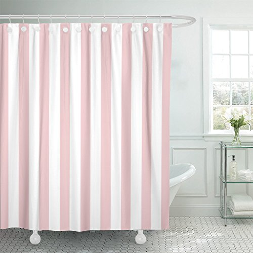 Emvency Shower Curtain Abstract Classic Pink and White Stripe Graphic Modern Waterproof Polyester Fabric 72 x 72 inches Set with Hooks