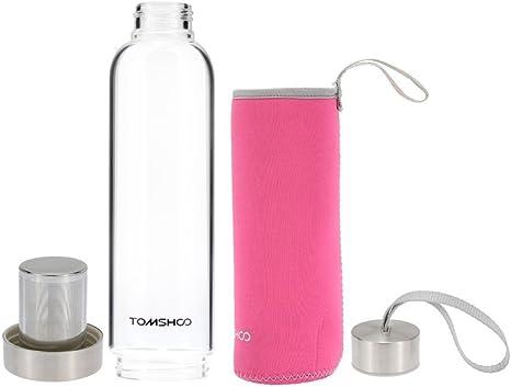 tomshoo al aire libre deporte botella de agua de vidrio con té Filtro Infuser bolso protector funda 550 ml respetuoso con el medio ambiente, Rosado: Amazon.es: Deportes y aire libre
