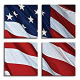 JP London 4 Panels 14in 4 Huge Gallery Wrap Canvas Wall Art God Bless America USA Flag At Overall 28in QDCNV2159