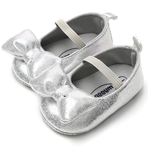 LIVEBOX Infant Newborn Baby Girl Shoes, Premium Soft Anti-Slip Bow Crib Shoes Prewalker Toddler Mary Jane Princess Dress Shoes with Strap Accessories for 0-18 Months Babies Silver