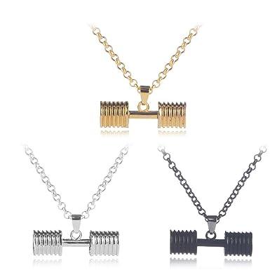 Mingjun - Juego de 3 piezas de collar con mancuernas para deportes y fitness, collar con colgante para parejas para hombres y mujeres, joyas de regalo: ...