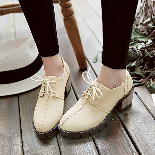 Women's Up Carolbar Heel Lace Mid Comfort Platform Shoes Casual Apricot Oxfords w1nOaxOq6