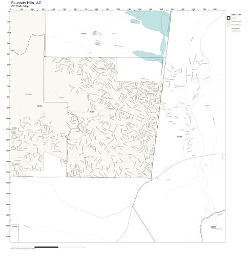 ZIP Code Wall Map of Fountain Hills, AZ ZIP Code Map Laminated