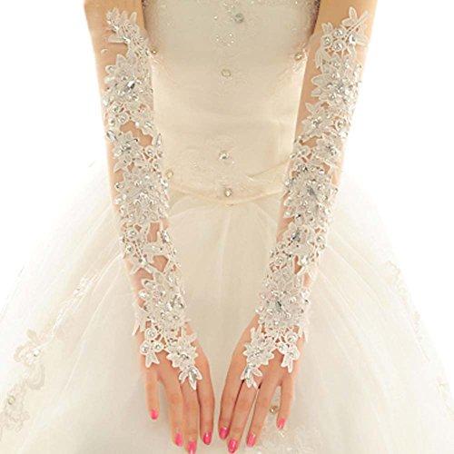 (Exquisite Fingerless Rhinestone Lace Bridal Wedding Gloves Bride Bridal Wedding Dress Lance Gloves White)