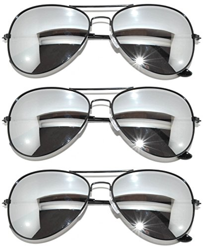 3 Pack of Aviator Sunglasses Black Frame Mirror Lens with - Online Aviator