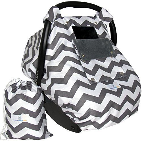 Baby Car Seat Covers for Girls and Boys, Infant Canopy WITH Window-Flap System AND Bag (Girl Baby Car Seat Covers compare prices)