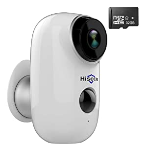 [32GB Pre-Installed] Battery Powered Security Camera, Hiseeu Wireless Outdoor Security Camera 720P Rechargeable Battery Operated Night Vision Waterproof PIR Motion Detection House Monitor