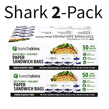 Lunchskins Recyclable + Sealable Paper Sandwich Bags, Shark, 2-Pack
