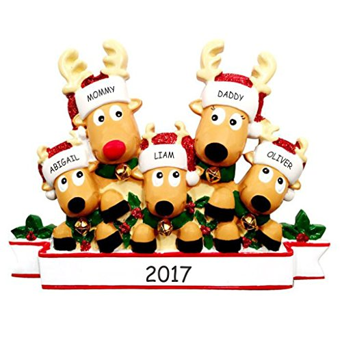 Personalized Cozy Reindeer Family Christmas Ornament (Reindeer Family of 5)