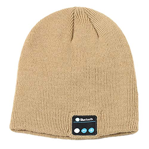 TLMYDD Stylish Wireless Bluetooth Knit Stripe Cap Call Stereo Bluetooth Earphone (Color : Yellow)