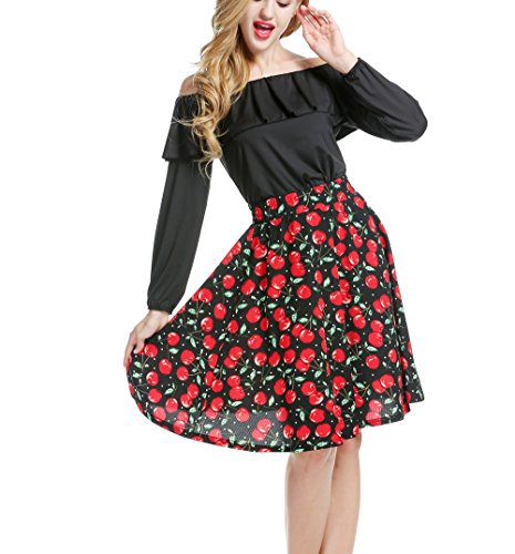 ACEVOG-Womens-Off-Shoulder-Ruffles-Long-Sleeve-Tops-with-Floral-Skirt
