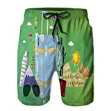 PRUNUS Big Boys'Throttled Boardshorts,Travel and Explore Around The Wor Shorts