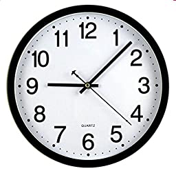 Bekith 12-Inch Silent Non-ticking Wall Clock, Black and White