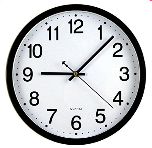 Bekith 12-Inch Silent Non-Ticking Wall Clock, Black and Whit