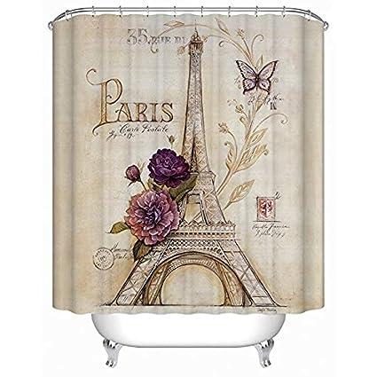Uphome Vintage Paris Themed Bluish Brown Eiffel Tower Bathroom Shower Curtain