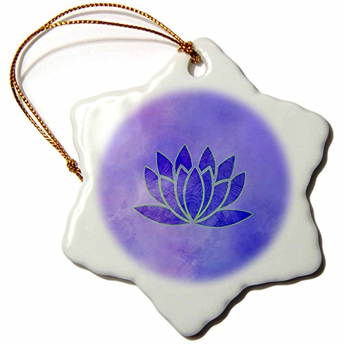 Porcelain Harmony Lotus (3dRose Andrea Haase Art Illustration - Watercolor Illustration Of Lotus flower Symbol In Blue And Purple - 3 inch Snowflake Porcelain Ornament (orn_268520_1))