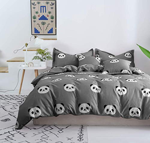 Softta Queen Kids Panda Boys Bedding Set Ultra Soft 3Pcs Duvet Cover Set Reversible Zipper Closure White and Black Cartoon Panda Pattern 100% Cotton Hypoallergenic Child Girls Bedding Collection