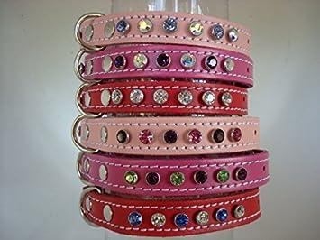 Cristallo Swarovski Elements in pelle collare design your own 9/scelte di cristallo 4/misure di collo 3/colori rosso o rosa ciliegia oltre 100/combinazioni