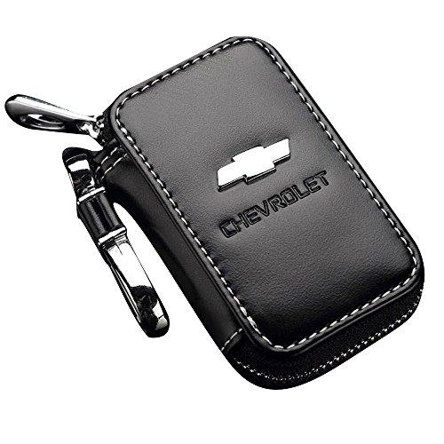 SHANG MEDING Black Premium Leather Car Key Chain Coin Holder Zipper Case Remote Wallet Bag (Love Tennis Key Ring)