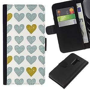 All Phone Most Case / Oferta Especial Cáscara Funda de cuero Monedero Cubierta de proteccion Caso / Wallet Case for LG G2 D800 // Gold Teal White Uniform Pattern Love