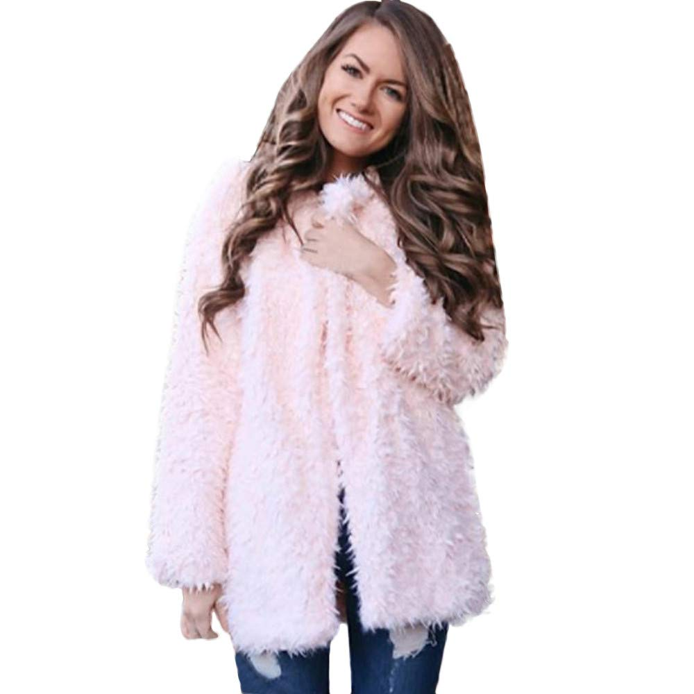 Kemilove New York Women's Thigh Length Faux Shearling Jacket Notched Collar