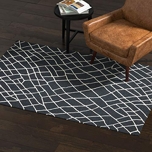 Rivet Contemporary Wool Area Rug, 4 x 6 Foot, Black and White
