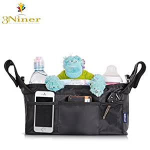 """3Niner Stroller Organizer Accessories Bag for smart moms, Free Gift Removable Shoulder Strap. Fit handles 13"""" - 21"""" wide. Extra Storage for Baby stuff. Two Deep Insulated Cup Holders. Black"""
