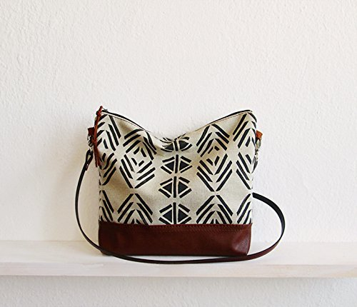 Aztec print crossbody bag, Messanger bag, Canvas and Leather bag, Triangle print, Geometry bag, Navajo, Tribal print by by MART
