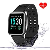 Enow Smart Watch, GPS IP68 Waterproof Touch Screen Fitness Bluetooth Tracker with 24h Heart Rate Monitor, Sleep Tracker, Multi Sports Mode, Pedometer Step Calories Counter, Android/iOS