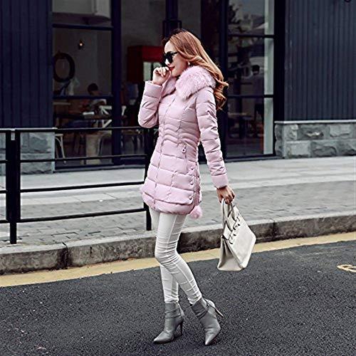 Unicolor Chaqueta De Parka Pluma Largo Fit Mujer Espesar Talla Larga Plumas Con Elegantes Termica Invierno Piel Manga Slim Grande Modernas Capucha Pink H00XqRSw