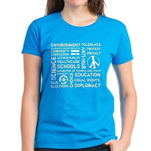 CafePress Liberal Values 2 Women's Dark T-Shirt - Womens Cotton T-Shirt (Value T-shirt Liberal)