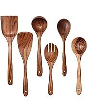 UniForU Cooking Utensils Set Kitchen Utensils 6Pcs Wooden Spoons Spatula for Cooking Nonstick Pan Kitchen Tool 100% Natural Teak Handmade