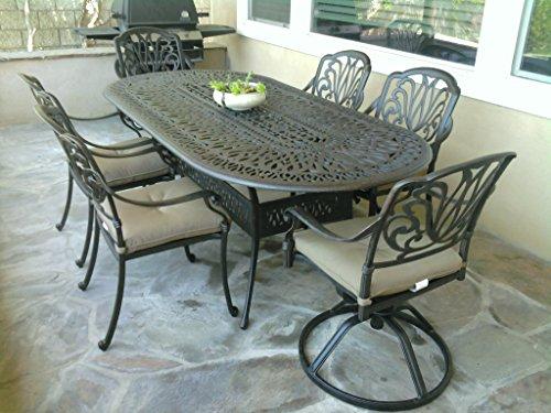 Tropitone Aluminum Oval Table - Heritage Outdoor Living Elisabeth Cast Aluminum 7pc Dining Set w/ 42
