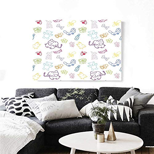 The Picture for Home Decoration Cartoon Drawing Style Baby Elephants Teddy Bears Flowers Butterflies Bees Pattern Customizable Wall Stickers 32