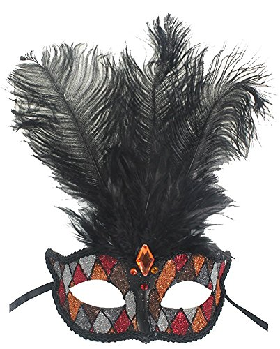 Burger Queen Costume - Hagora, Women's Carnival Dancing Queen Dominant Black Tone Feathered Mask,Orange and Silver One Size fits Most