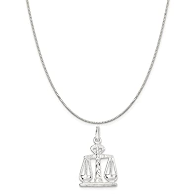 Mireval Sterling Silver Cat Charm on a Sterling Silver Carded Box Chain Necklace 18