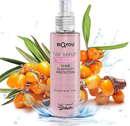 Sérum natural para el cabello con proteínas de seda, espino amarillo de mar, aceite de almendras dulces y aminoácidos para una mejor ...