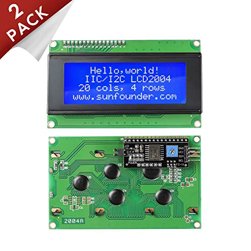 SunFounder 2004 20x4 LCD Module IIC I2C Interface Adapter Blue Backlight for Arduino R3 Raspberry MEGA2560 (2 Pack)