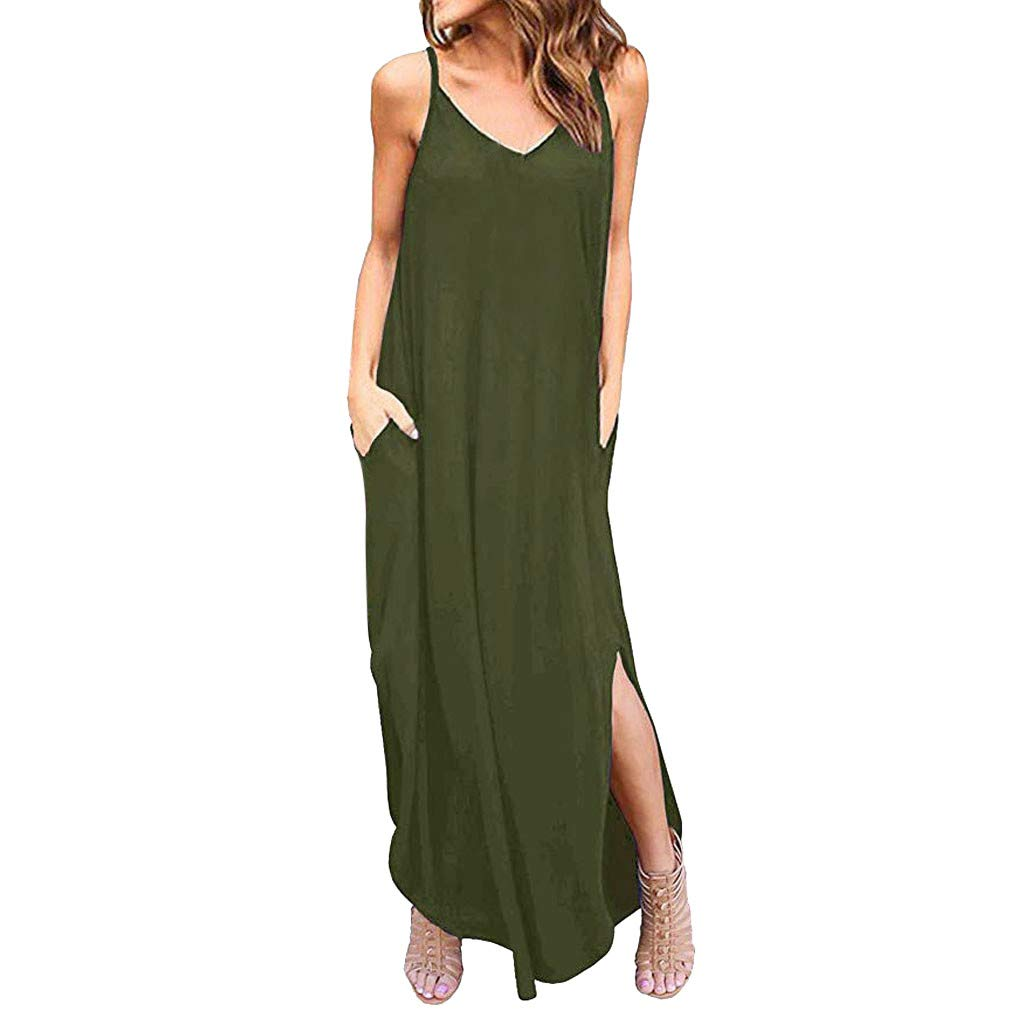 Womens Summer Boho Maxi Dress,Sleeveless Spaghetti Strappy Beach Cami Split Dresses with Pocket Green by Drindf Womens Dress