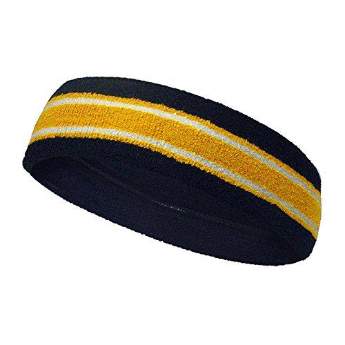 COUVER Terry Striped Basketball Headband Sweatband (1 Piece) Navy/Golden Yellow