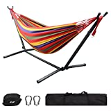 GreenWise 9Ft Double Hammock Space Saving Steel Stand Travel Beach Yard Outdoor Camping (Red)