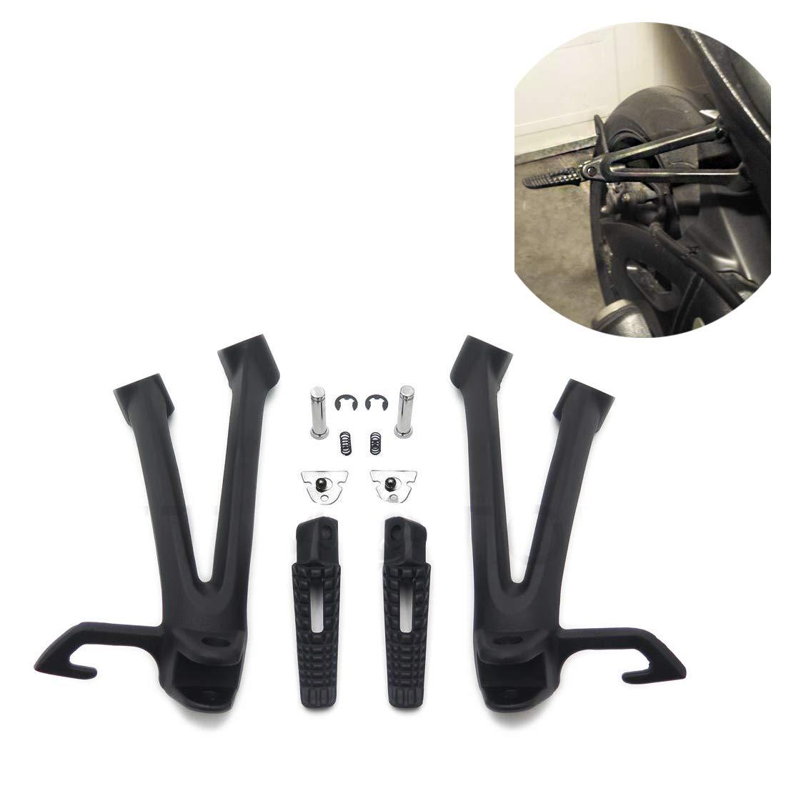 HTTMT MT390-013-BK Black Rear Passenger Foot Pegs Bracket Compatible with Suzuki Gsxr600 Gsxr750 2006 2007