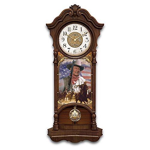 The Bradford Exchange John Wayne True Patriot Stained Glass Collectible Wall Clock Lights Up ()