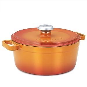 Essenso Chambery 3 Layer Enameled Orange Cast Iron Small Dutch Oven 3 qt