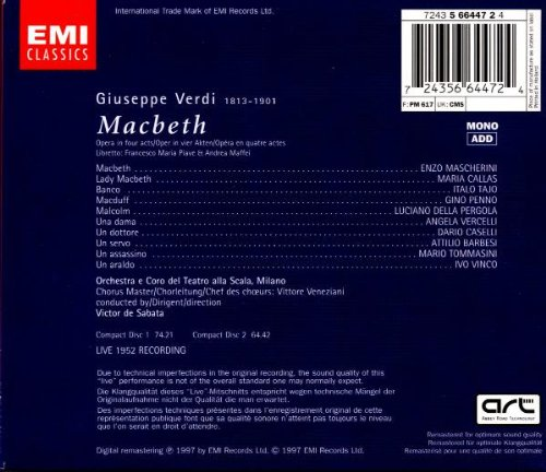Verdi: Macbeth (complete opera live 1952) with Maria Callas, Enzo Mascherini, Victor de Sabata, Orchestra & Chorus of La Scala, Milan by EMI Classics