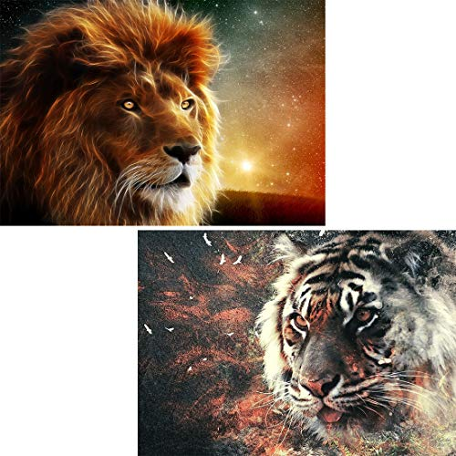 Yomiie 5D Diamond Painting Lion & Tiger by Number Kit, 2 Pack Beast DIY Crystal Rhinestone Embroidery Cross Stitch Paint with Diamonds Arts Craft Supply Canvas Wall Decor 12X16 inch